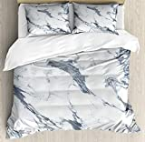 Marble Bet Set 4pcs Bedding Sets Duvet Cover Flat Sheet No Comforter with Decorative Pillow Cases Twin Size for Kid Teens-Antique Marble Textured Ocean Style Organic Granite Rock Formation Art Print