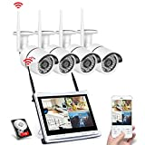 ANRAN Wireless Security Camera System, 12 inch Home Surveillance Video Recorder with 4pcs 1080p Indoor Outdoor WiFi IP Network CCTV Camera, 1TB HDD Pre-Installed, Complete Surveillance DVR Kits