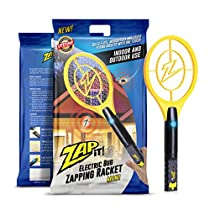 ZAP IT! Mini Bug Zapper - Electric Mosquito, Fly Killer and Bug Zapper Racket - 4000 Volt - Rechargeable Via USB, Super-Bright LED Light to Zap in the Dark - Unique 3-Layer Safety Mesh Thats Safe to Touch
