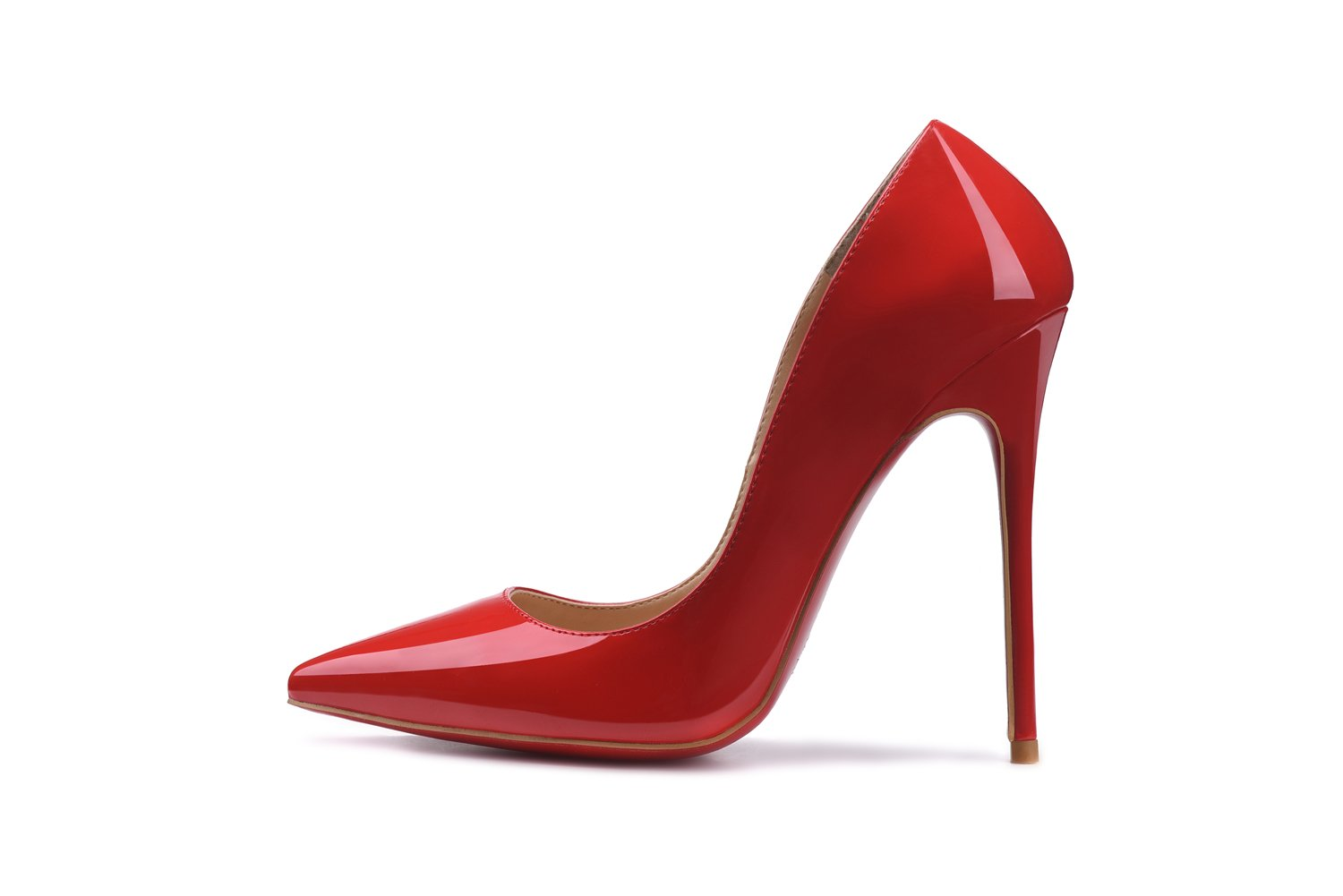 Women Shoe Pointed Toe Pumps Party Sandals Fashion Patent Leather High Heel Stilettos On Dress 12cm B07DG2FBH1 6.5 B(M) US|Red