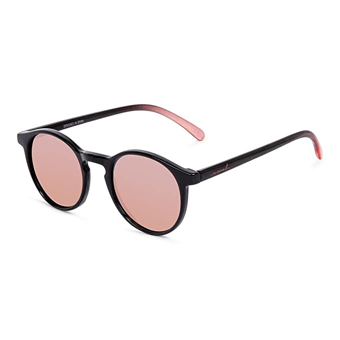 CORAL Sunglasses PACIFICA - Gafas de sol negras y lentes espejo oro rosa polarizadas. Acabado