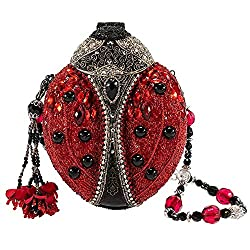 Hand Beaded Lady Bug Convertible Clutch Handbag