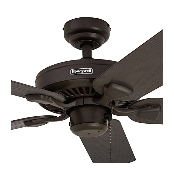 """Honeywell Belmar 52"""" Outdoor Ceiling Fan 3 QUALITY DESIGN: Features a bronze finish and 5 ETL damp rated fan blades. Perfect for outdoor patios, workshops, breezeways, gazebos, pergolas and other outdoor spaces. EASY CONTROLS: Traditional pull chains included for easy """"on and off"""" adjustments but this fan is also compatible with Honeywell ceiling fan remotes. QUIET REVERSIBLE MOTOR: Conveniently quiet, 3 speed, reversible motor that can be run in reverse in the winter to aid in rotating the warm air in the room."""