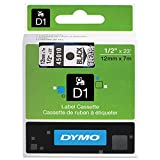 DYMO 45010 D1 High-Performance Polyester Removable Label Tape, 1/2'' x 23 ft, Black on Clear