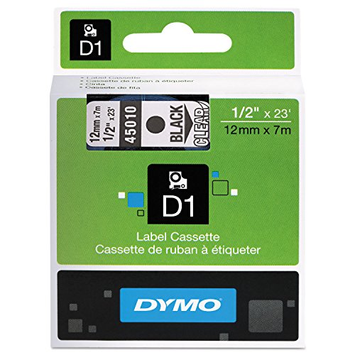 DYMO 45010 D1 High-Performance Polyester Removable Label Tape, 1/2'' x 23 ft, Black on Clear by DYMO