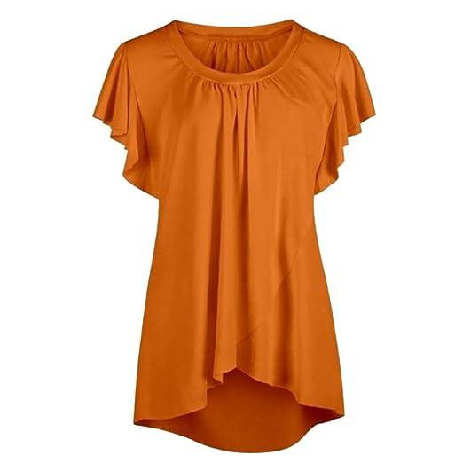 5293671c118 2019 Women Fashion Plus Size Blous Tops Casual Sleeveless Ruffle Chiffon  Vest Shirts Summer Round Neck High Low Hem T-Shirts at Amazon Women s  Clothing ...