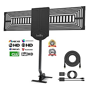 LeadTry Outdoor HD Digital TV Antenna, 150+ Mile Reception Range with a free Signal Booster, Attic/Roof TV Receiver for High-Gain FM/VHF/UHF 33 Ft High Coaxial Cable (ANT-OTD08)