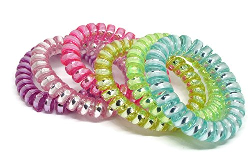 Price comparison product image Rubber band for hair Ladies Colorful Telephone Stretchy Wire Elastic Candy Hair Band Rope Round,by tada-tada (6pcs., orchid,apua,snow,lawngreen,yellow,lightpink)