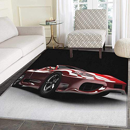 (Cars Area Rug Carpet Automotive Industry Theme Powerful Engine Fast Technology Prestige Performance Customize Door mats for Home Mat 4'x6' Red Black White)
