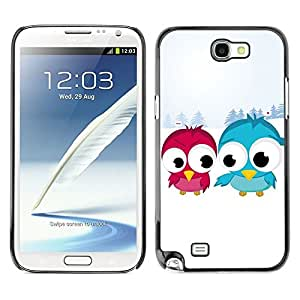 LECELL -- Funda protectora / Cubierta / Piel For Samsung Galaxy Note 2 N7100 -- Funny Cute Bird Friends --