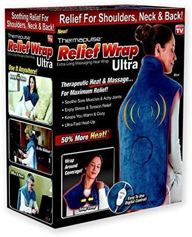 New Thermapulse Relief Wrap Ultra - Massage Heating Pad with Fast-Heating Technology, Heat Therapy Wrap with 4 Massage Setting, Machine...
