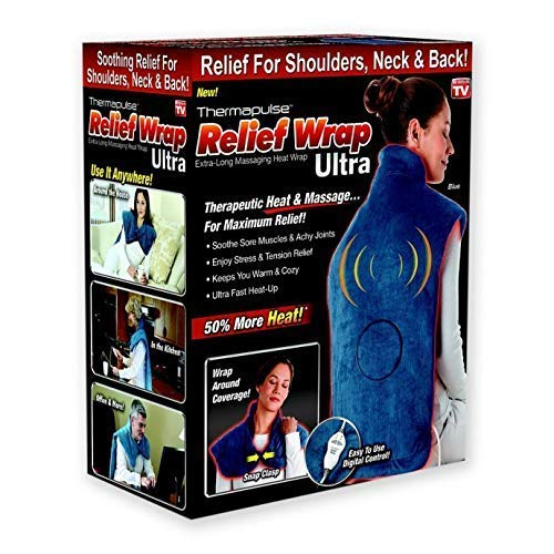 New Thermapulse Relief Wrap Ultra - Massage Heating Pad with Fast-Heating Technology, Heat Therapy Wrap with 4 Massage Setting, Machine Washable, Auto Shut Off As Seen On TV