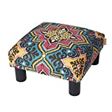 Jennifer Taylor Home Jules Collection Bohemian Nailhead Trim Accent Ottoman Bench, Multicolor/Tango Blue Review