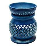 Ceramic Aromatherapy Scent Blue Essential Oil Diffuser Warmer Lamp Home Décor Gift Set