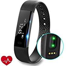 Fitness Tracker Watch, REDGO Waterproof Fitness Tracker with Heart Rate Monitor Activity Bluetooth Intelligent Bracelet for iPhone 7 6 6s Plus Samsung S6 S7 Edge etc, Black