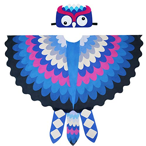 Toddler Kids Fairy Bird Costume Owl Wings Feathered with Mask - Boys Girls Animal Dress-up Party Favors (#4 Blue) ()