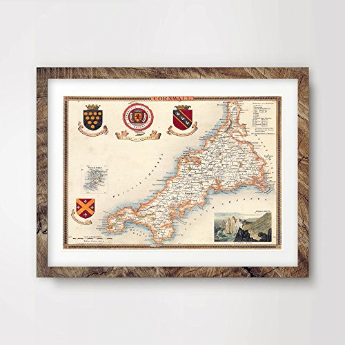 - CORNWALL COUNTY VINTAGE MAP ART PRINT POSTER Britain British UK Antique Historical Home Decor Wall Picture A4 A3 A2 (10 Sizes)