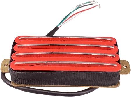 エレキギター ダブルコイル ピックアップ ハムバッカー ギターパーツ 全4色 - 赤 Amazon レール形状