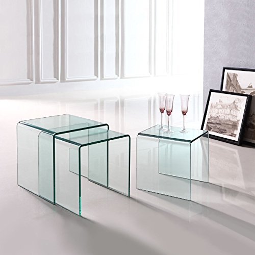 Premium 3 Piece Tempered Glass Low Nesting End Tables Modern Contemporary Low Home And Living Room