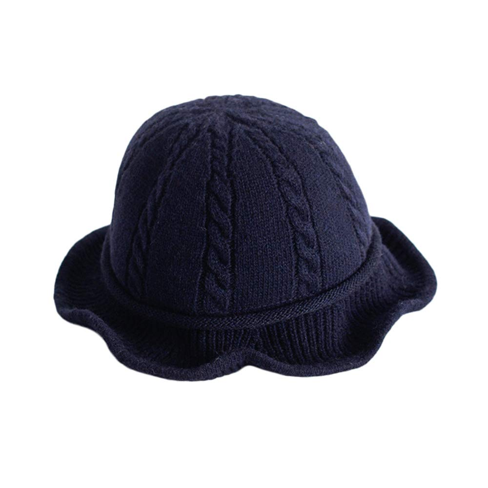 Vpang Winter Knitted Wool Hat Women Bucket Hat Foldable Bow Warm Soft Cloche Cap