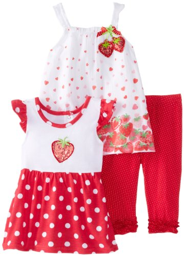 Nannette Baby Girls' 3 Piece Red Strawberry Knit Shirt Woven Shirt and Pant, Red, 12 Months