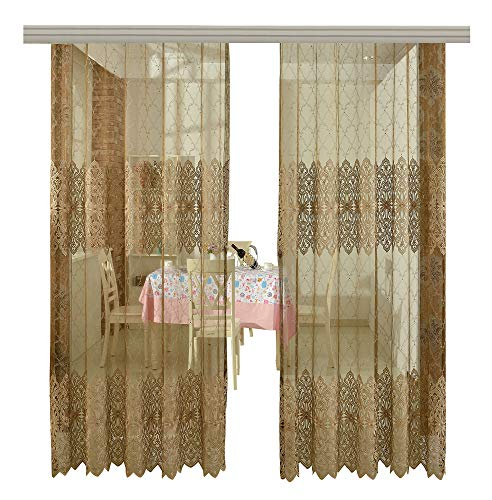 s Sheer Curtains Rod Pocket Voile Window Treatments Embroidered Bead Decoration Style for Living Room & Bedroom(1 Panel, W 100 x L 102 inch, Brown) -1280136C1FFFBNX100102-8510 ()