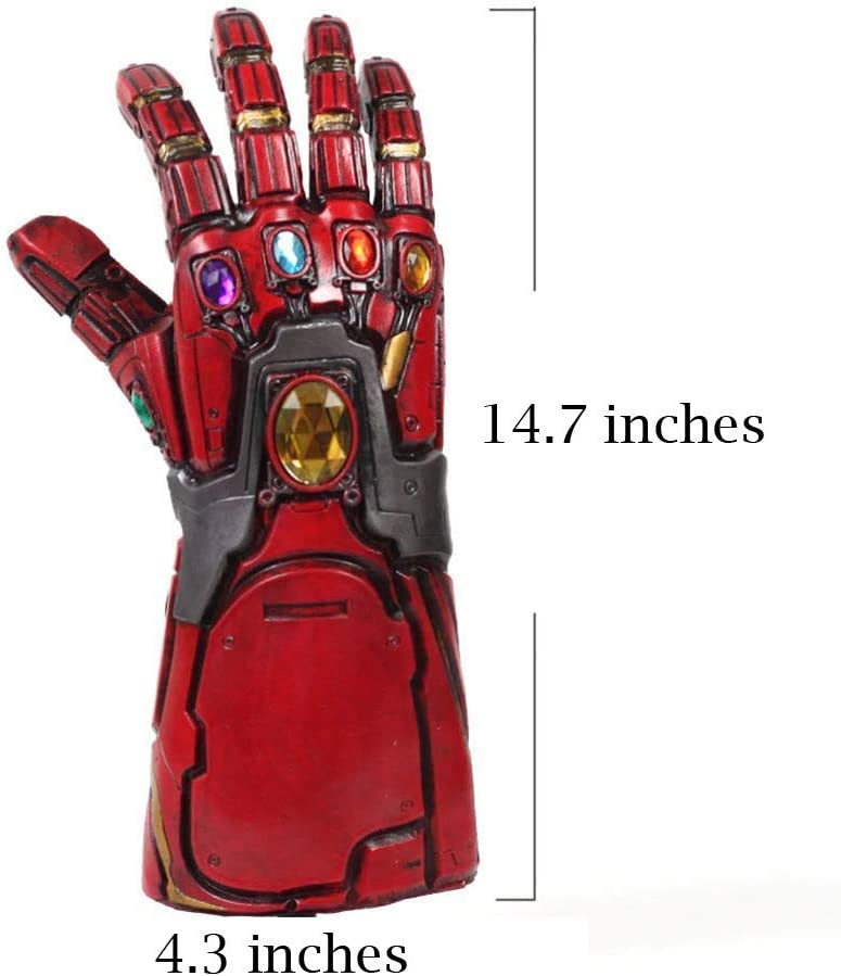 Rosso con Led Iron Man Infinity Gauntlet Tony Stark Thanos Guanti in lattice con Energy Gem Endgame Movie Costume Cosplay Replica per adulti Uomini Fancy Dress Merchandise del partito Halloween