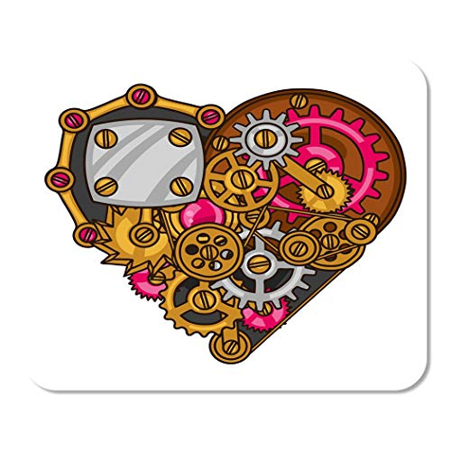 Suike Mousepad Computer Notepad Office Bolt Steampunk Heart Collage of Metal Gears in Doodle Style Brass Cog Cogwheel Day Home School Game Player Computer Worker 9.5x7.9 Inch
