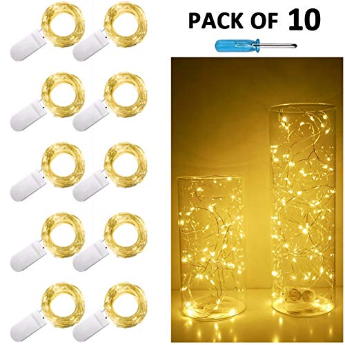 10Pack LED String Lights Battery Powered(Included),20 LED Starry Fairy Lights,6.6FT/2M Silver Cooper Wire,Waterproof Firefly Lights in Bottles Jar For DIY Wedding Centerpiece,Christmas,Table,Party Dec]()