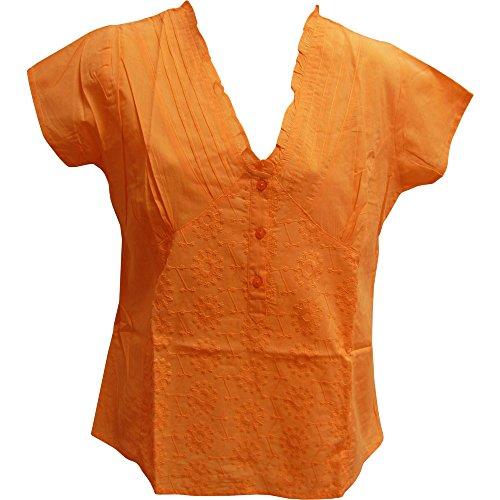 続編シミュレートする支払うヨガTrendz Indianガーゼコットン半袖刺繍フリルVネックブラウストップ# 27
