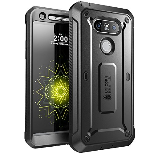 SUPCASE Unicorn Beetle Pro Series Case Designed for LG G5, with Built-In Screen Protector Full-Body Rugged Holster Case for LG G5 2016 Release (Black) (Best Case For The Lg G5)