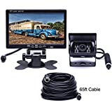 Podofo Car Backup Camera Waterproof 18 IR LED Night Vision Reverse Camera + 7 TFT Rear View Monitor Vehicle Parking System for RV/Bus / Trailer/Truck (65ft 4-Pin Aviation Video Cable)
