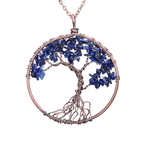 Family Root Wire Wrapped Copper Tree of Life Crystal Pendant Necklace Nature Semi Precious Raw Lapis Lazuli Quartz Birth Stone Pendant Wire Wrapped Vintage Jewelry