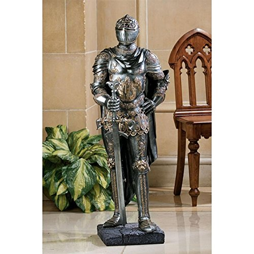 (Design Toscano The King's Guard Medieval Decor Half Scale Knight Armor Gothic Statue, 39 Inch, Polyresin, Two Tone)