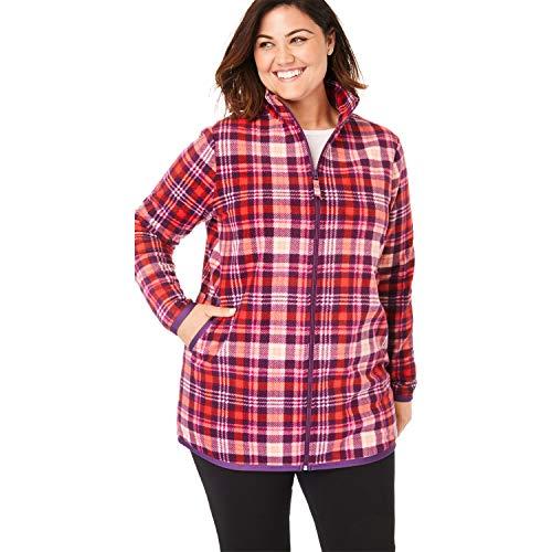 Plaid Zip Jacket - Woman Within Women's Plus Size Zip-Front Microfleece Jacket - Dark Berry Plaid, M