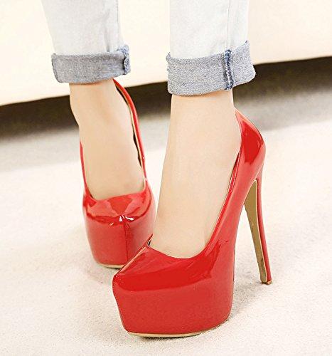Stiletto Slip Pumps PU Shoes Red Platform Women's On Heel Patent du Party Jiu High Dress 6vEaq0xUw