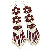 VALENTINES DAY SPECIAL CREAM FLOWER SEED BEADS INDIAN STYLE EARRINGS LONG -E-11-SB-11