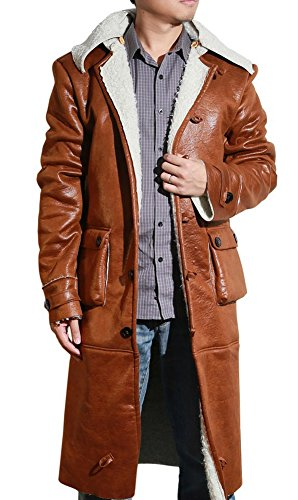 Classic Bane Costumes (Halloween Men's Classic Winter Leather Jacket Trench Coat for Adult L)