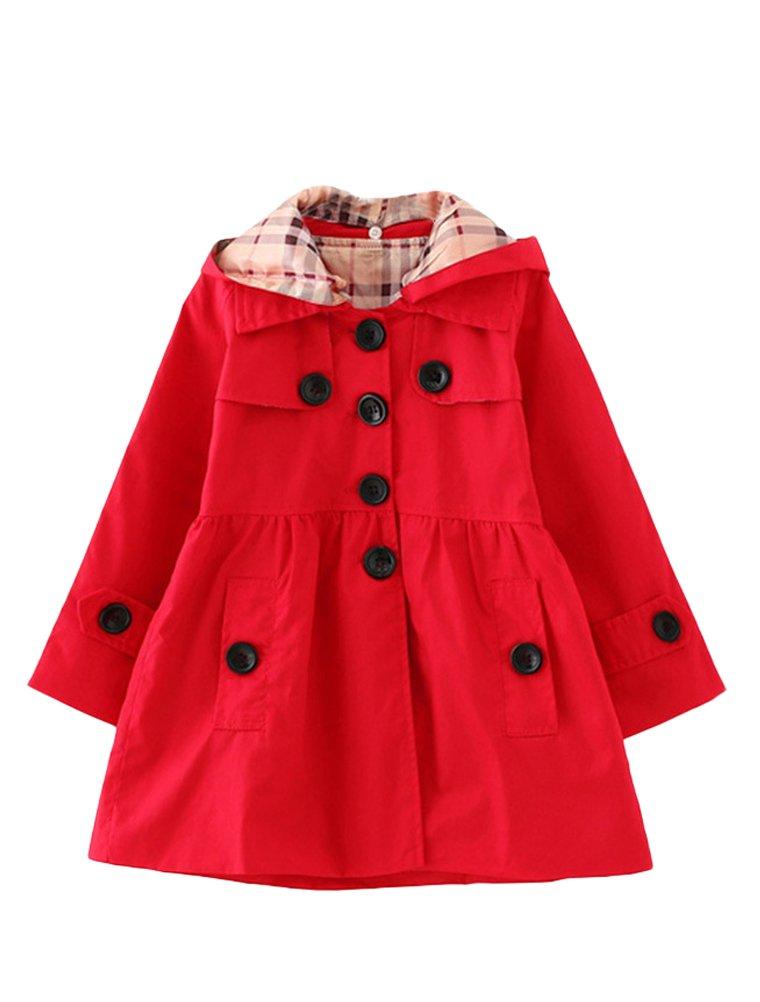 Mallimoda Girl's Hooded Trench Coat Jacket Dress Windbreaker Outwear Red 2-3 Years