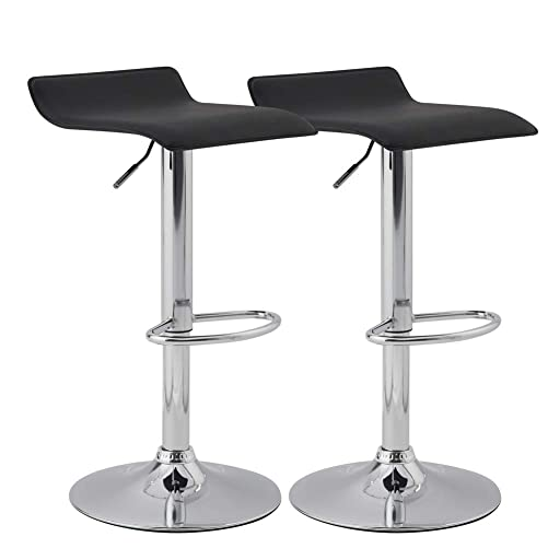 KYOTECH Set of 2 Adjustable Swivel Barstools, PU Leather Kitchen Breakfast Counter Chairs, Black