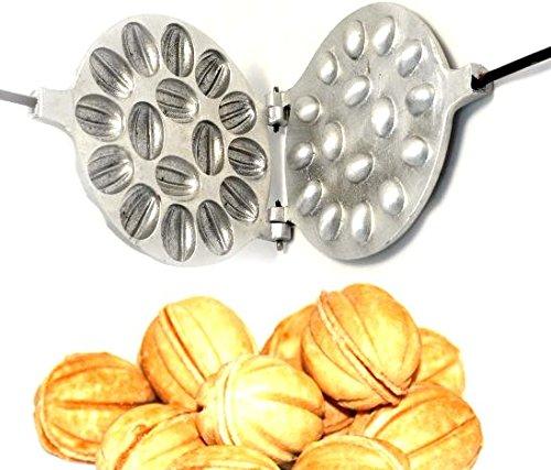 (OVP Gold store Walnut Cookie Mold (Oreshek) Maker 16 nut Oreshki Rissian Soviet Cookies Pastry Oreshnitsa Орешница)