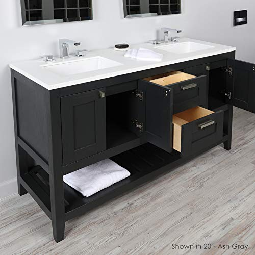 Free standing under-counter double vanity with two sets of doors(knobs included) on both sides, two drawers(knobs included) on the center and slotted shelf in wood, Black with Fine Texture
