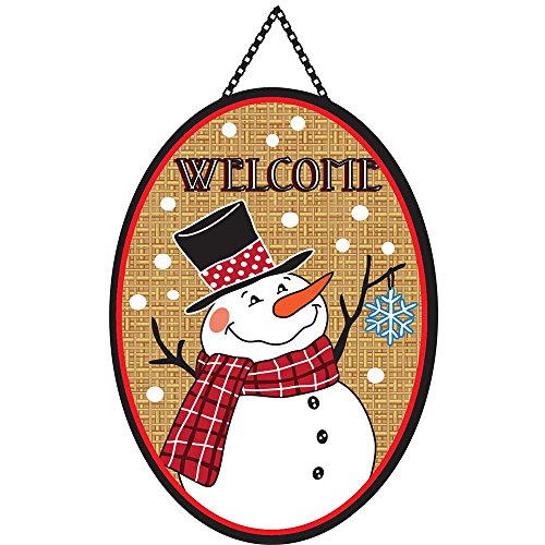 Welcome Burlap Plaid and Polka Dot Jolly Snowman 13 x 18 Oval Ribbon Door Banner (Jolly Ribbon)