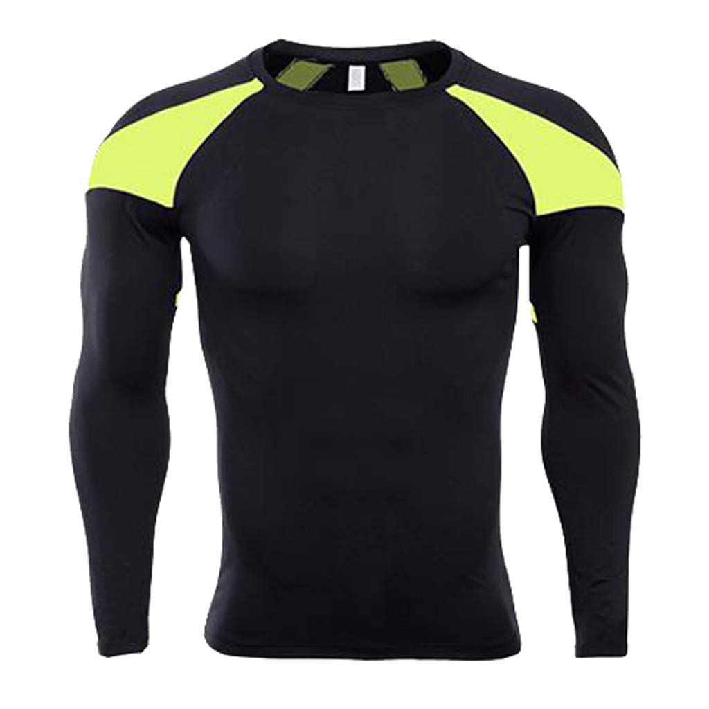 Forthery Men's Long Sleeve T-Shirt Cool Dry Compression Tops Sports Athletic Blouse(Yellow,Small)