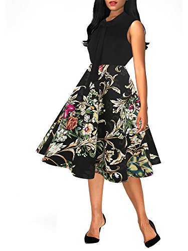 - oxiuly Women's Chic Floral Patchwork V Neck Pockets Casual Work Swing Dress OX278 (M, Black Yellow)