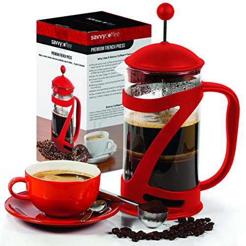 French Press Coffee Maker and Stainless Steel Coffee Scoop Set   34 Oz   By Savvy Coffee