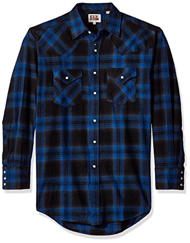 Ely & Walker Men's Long Sleeve Brawny Flannel Shirt, Blue, XX-Large (Blue Mens Walker)