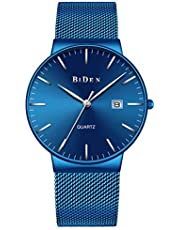 Watch Mens Quartz Watches Light Weight Slim Wristwatch Super-Thin Man Wrist Watch with Calendar for Men Boys