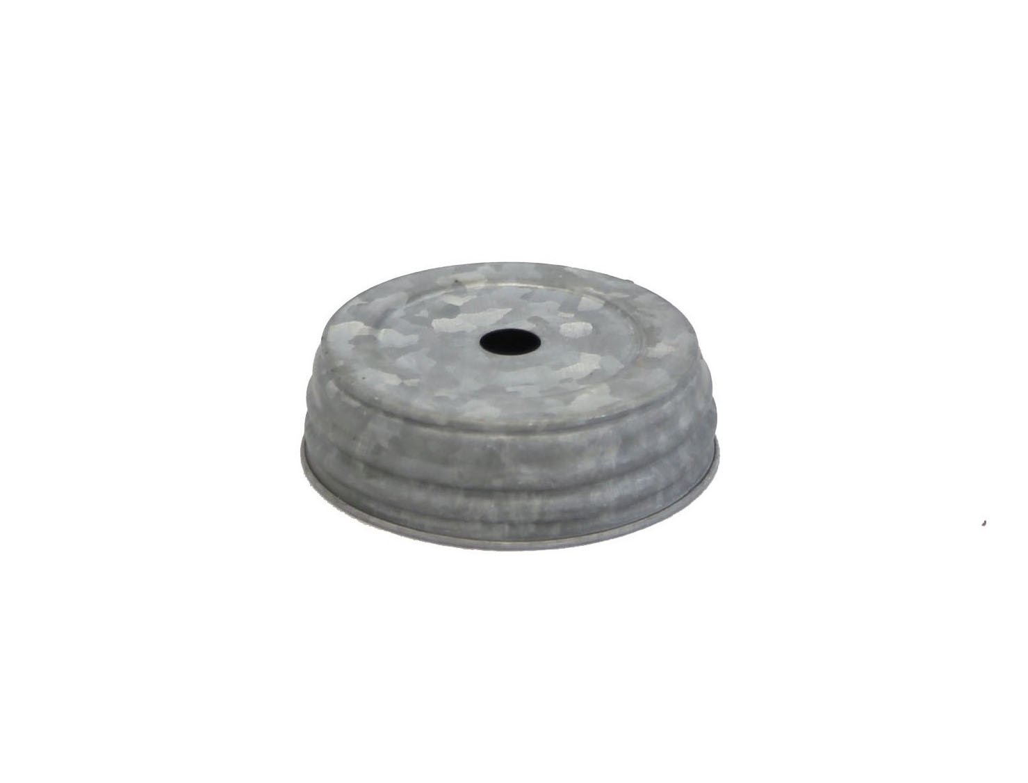 Gray Zinc Mason Jar Lid With Hole - Set Of 6
