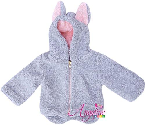 Angeline Baby Girls Winter Bunny Hoodies Coat Jacket Gray/Pink 4T/L (Hoodie Fleece Princess)